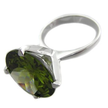 925 Sterling Silver With Tourmaline CZ Ring 6