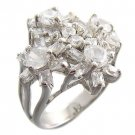 925 Sterling Silver With White CZ Ring with flowers size 6