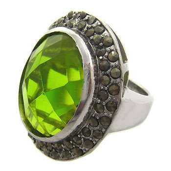 Peridot CZ Marcasite With Silver Ring size 7.5