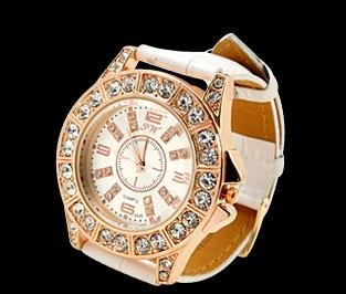 gold tone artificial crystal white leather band designer watc
