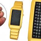 72 LED Red Light Time Evolution Men's Wrist Watch Golden Free Shipping