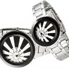 Fashion Jewelry Unique Black His and Her Steel Band Couple Watch Set Free Shipping
