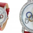 Red Leather Strap Olympic Ring Dial Round Wrist Watch Free Shipping