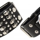 Black Leather 1000 Skulls Men's Wide Cuff Bracelet Watch Free Shipping