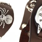 Spider Men's Wide Leather Cuff Bracelet Watch Brown Free Shipping