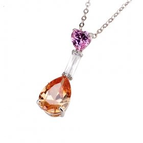 Beautiful 18K White Gold Plated CZ Cubic Zirconia Necklace