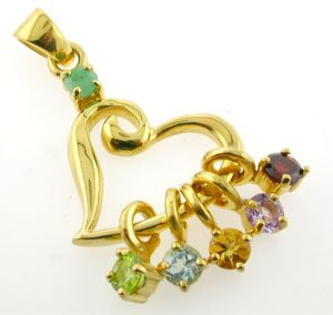 Free Shipping Gold plated 925 silver custom pendant with birthstones of loved ones