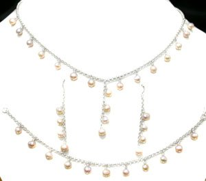Free Shipping 925 Silver NECKLACE, EARRINGS & BRACELET JEWELRY SET WITH CREATED PEARL.