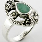 Free Shipping GENUINE EMERALD & MARCASITE STERLING 925 SILVER RING