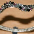 Free Shipping 925 silver bangle Genuine ruby,emarald  black sppahire