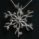 Free Shipping GENUINE Citrine STERLING 925 SILVER snowflake flower pendant