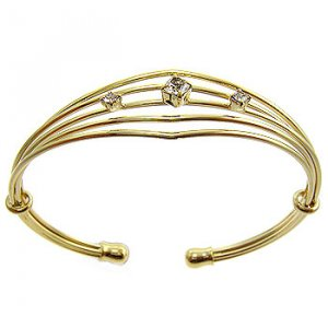Free hipping 14K French Gold Plated 2 Micron  White CZ Bangle Costume Jewelry