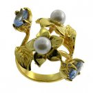 Free Shipping Costume Jewelry With Gold Plated Ring with pearl and Blue topaz cz size 8.5