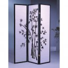 3 Panel Bamboo Room Divider Black