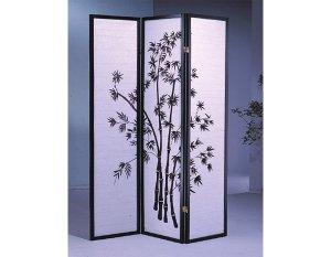 3 Panel Bamboo Room Divider Black