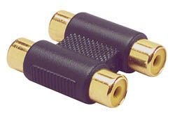 Gold Dual RCA Jack To RCA Jack Adapter