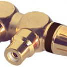 Gold RCA Y (1) Male To (2) Right Angle Female Black