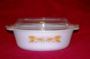 Vintage Fire King Casserole - BACKWARD LOGO - Unusual! FREE SHIP!