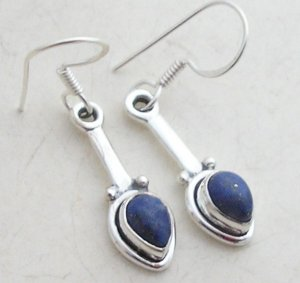 Silver lapis lazuli earrings dangly 925