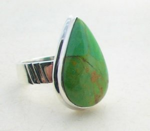 Silver turquoise cocktail ring, size R, new 925