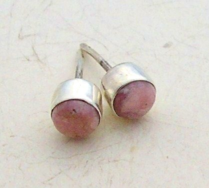 Silver rhodochrosite earrings stud