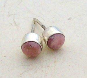 Silver rhodochrosite earrings stud