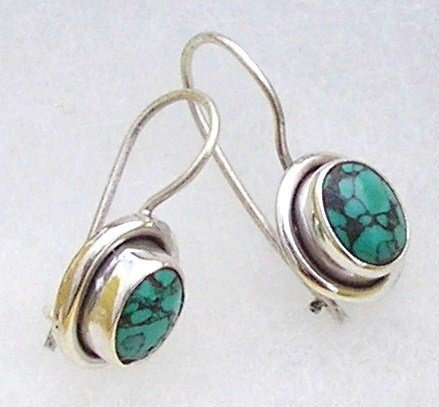 Silver turquoise earrings 925, new