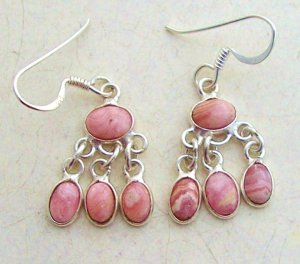 Silver rhodochrosite dangly earrings