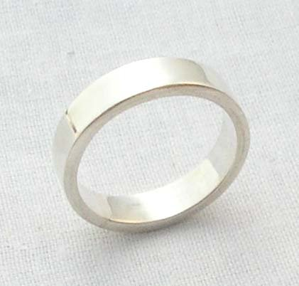 Mens solid silver band ring 5mm square size 7 new