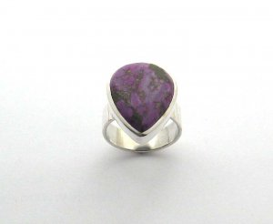 silver purple turquoise cocktail ring, size R, new