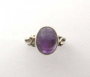 Sterling silver amethyst cocktail ring, size S