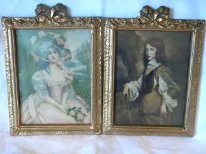 French Gilt Gold Gesso Bow Ribbon & Roses wood Picture Frames with Knowles Hare print 1910