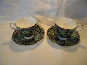 Vintage Paragon  Chintz Tea Cup Coffee cup and saucers with Green Roses