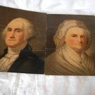 Strobridge Middleton Chromolithographed Oil Portraits of George & Martha Washington 1860s