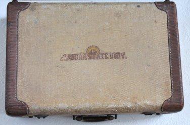 30's 40's Florida State University FSU Tweed Belber Hardsided Suitcase Luggage