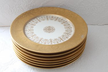 Vintage Heinrich and Co H&C Selb Bavaria GOLD ENCRUSTED Chargers Dinner Plates (7)
