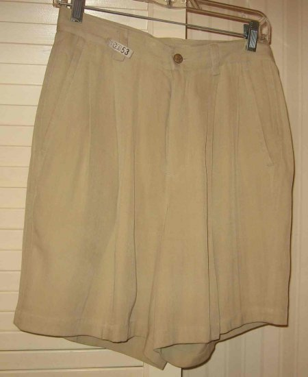 ISLAND REPUBLIC 100% SILK Khaki Shorts Sz 6 Beautiful!!