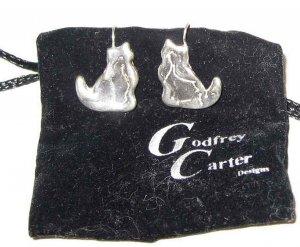 GODFREY CARTER Handmade Silver Cat Earrings - New!!