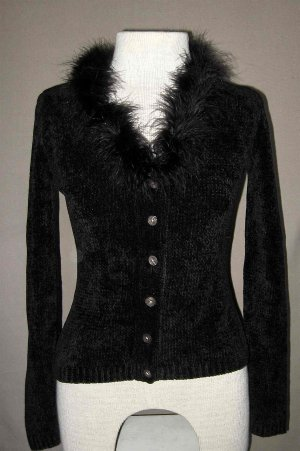 Black Chenelle Sweater w/Ostrich trim from London Sz PS