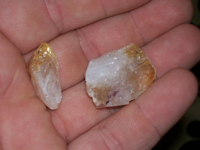 2 pieces of yellow quartz