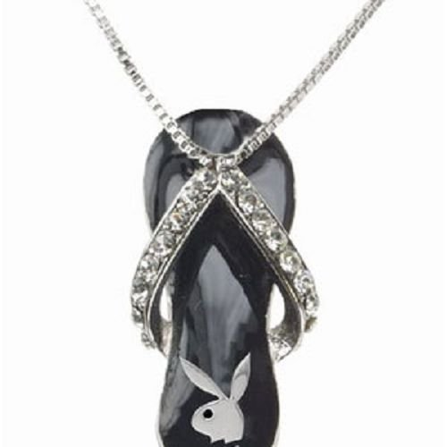 lack Flip Flop Necklace/Clear crystals, Playboy Bunny black eye