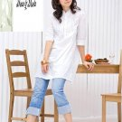 3/4 Sleeve Cotton White Top