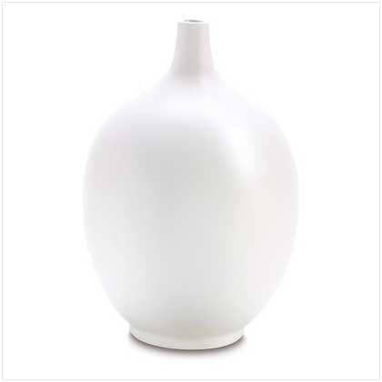 #  38663     WHITE CERAMIC LONGNECK VASE