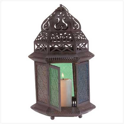 #33144 Candle Lantern With Multi Colored Glass Panels