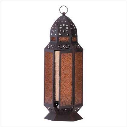 #34691 Amber glass lantern