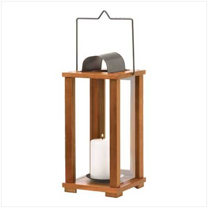 #39031 Oak-stained wood candle lantern