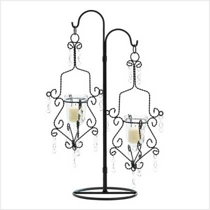 #39059 Bejeweled candle holder with crystalline facets