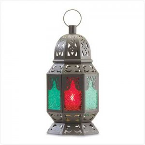 #37436 Dramatic candle lantern with jewel-toned panels