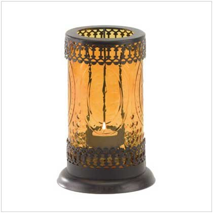#37934 Embossed amber glass lacework lantern
