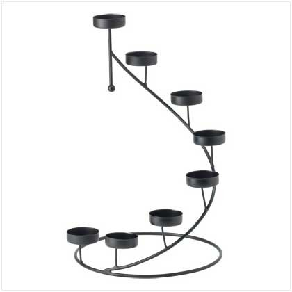 #38178 Stair-step matte-black candle holder